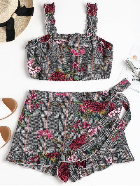 chic Floral Houndstooth Skorts Two Piece Set - MULTI S Mobile