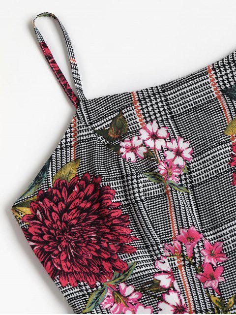 lady Houndstooth Floral Mini Apron Dress - BLACK M Mobile
