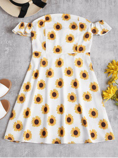 Schulterfreies Sonnenblume Skater Kleid - Weiß S Mobile