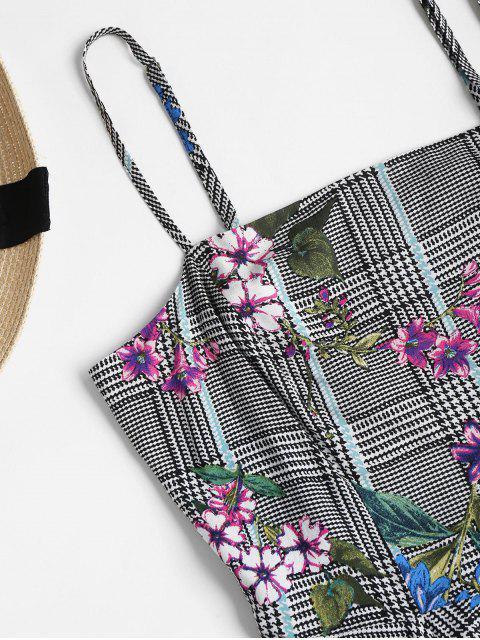 online Houndstooth Floral Mini Skater Dress - MULTI S Mobile