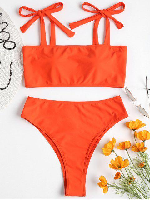 affordable Tie Shoulder High Leg Bikini - ORANGE M Mobile
