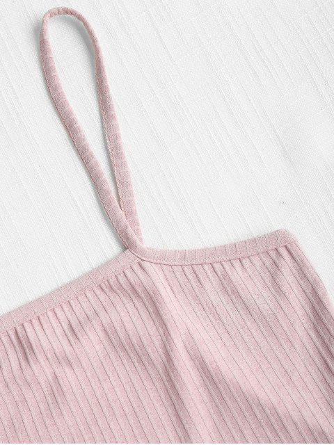 women's Ribbed Crop Cami Top - LIGHT PINK L Mobile