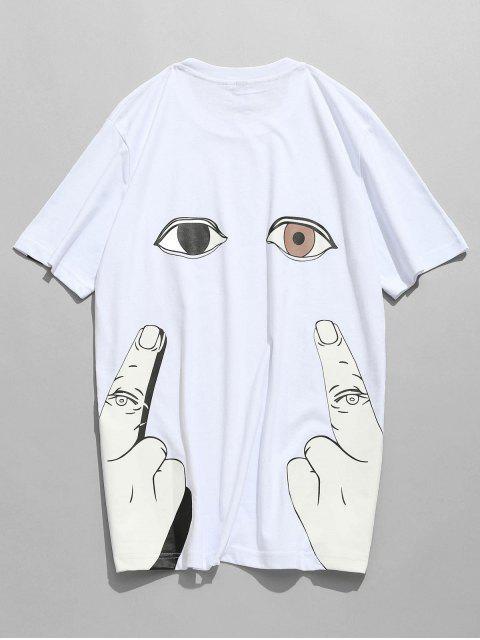 Camiseta de manga corta con estampado de ojos en la manga - Blanco L Mobile