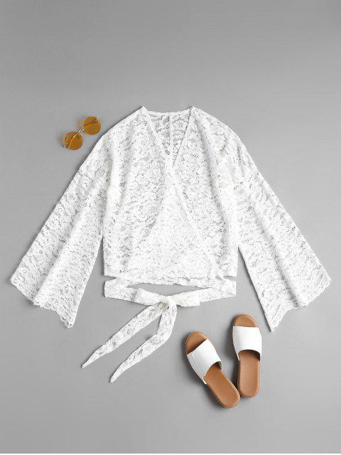 fancy Lace Wrap Top - WHITE M Mobile