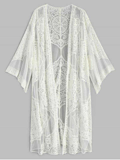 hot Embroidered Long Sleeve Kimono - WHITE ONE SIZE Mobile