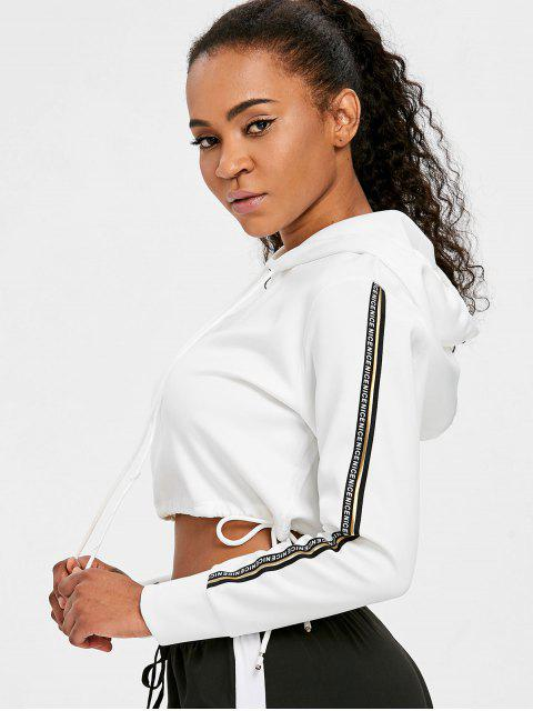 outfits Contrast Stripe Sleeve Cropped Hoodie - WHITE L Mobile