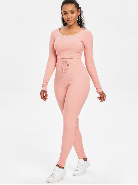 women's Ribbed Crop Top and Pants Sweat Suit - LIGHT PINK S Mobile