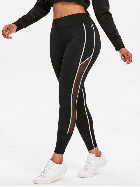 latest Contrasting Mesh High Waisted Sports Leggings - BLACK L Mobile