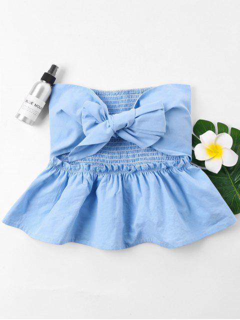 chic Cut Out Bowknot Tube Top - LIGHT BLUE XL Mobile