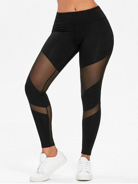online Mesh Panel Gym Sports Leggings - BLACK S Mobile