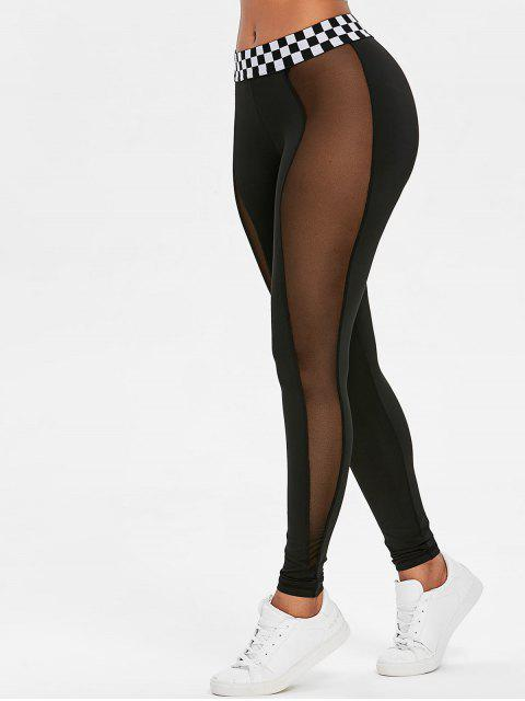 womens Contrast Waistband Mesh Sports Leggings - BLACK S Mobile