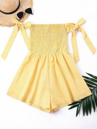 Bowtie Off Shoulder Smocked Romper - Bee Yellow S