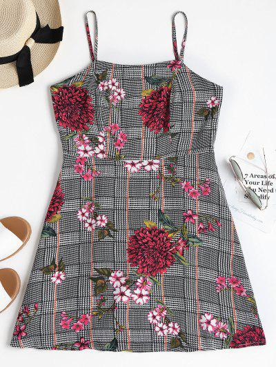 d22cc4db0a92 Houndstooth Floral Mini Apron Dress - Black L