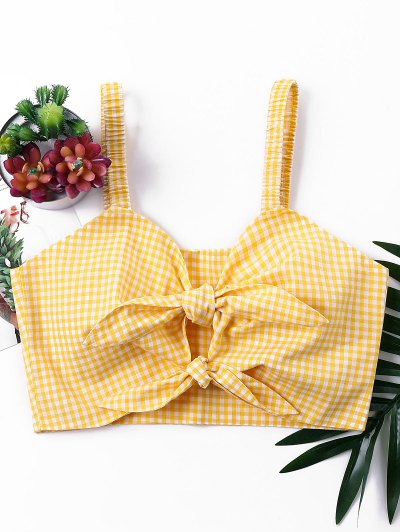 Knotted Gingham Tank Top - Bee Yellow Xl