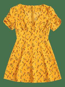 Parte Vestido Floral Posterior Mini M En La Cremallera Con Amarillo Brillante qqYS05r