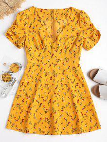 Mini Floral Vestido Con Parte La Cremallera En M Brillante Posterior Amarillo TwCq7C
