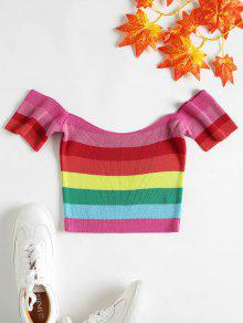 Stripe Shoulder Off Multicolor Top S fpCfxrqw