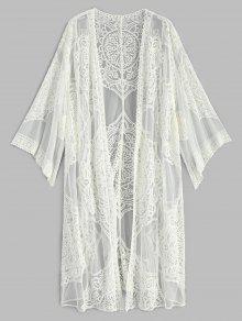 كيمونو مطرز طويل الاكمام - أبيض