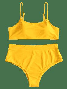 Amarillo De Bikini Y Alta Grande Pierna L Brillante Talla d4qvqxYw7