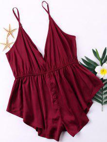 زائد الحجم مفتوح الظهر الحرير رومبير - نبيذ احمر 3xl