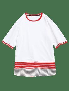 Camiseta En Panel Contraste 2xl De Con Rayas Blanco qvwnZarHqx