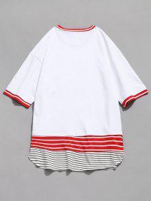 Con Camiseta Panel Contraste En De Blanco Rayas 2xl dzpzrq