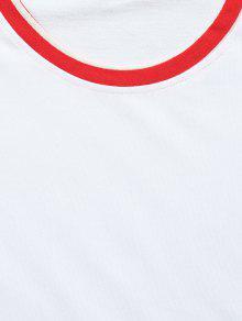 Blanco De Rayas En Camiseta 2xl Contraste Panel Con wUvx6EqY6
