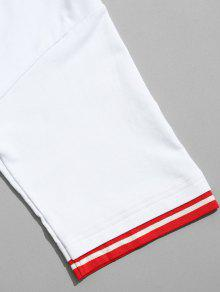 Camiseta Con De Rayas Blanco Panel Contraste En 2xl rrwHqaA4Sn