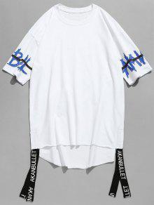 2xl Camiseta Dobladillo Blanco En Letra Estampada Costuras Con Sin Doblada r1Ccrzqw