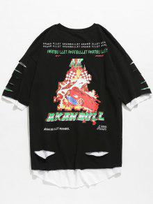 Rematar Sin Sin 2xl Dobladillo Mangas Camiseta En Estampada Negro XYwxqWdH
