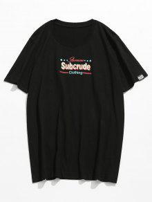 Estampada 2xl Camiseta Corta Manga De Negro d880Xx