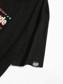 Negro Estampada Camiseta Corta 2xl Manga De WnUqHHOI