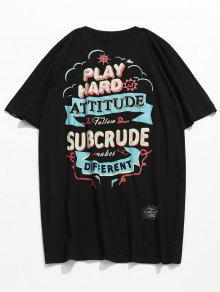 Estampada Negro 2xl Manga Camiseta De Corta UwHqUIdC