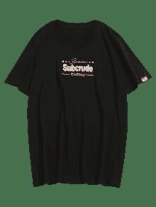 2xl Manga Estampada Negro Corta Camiseta De xaFACxwq