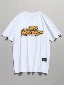 Estampada Camiseta Blanco Casual Manga De L Corta gwxawRnq