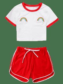 Rojo Y En Con De Cortos Contraste Camiseta Pantalones M Borde Conjunto 6w1Ezqx