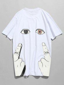 كم قصير طباعة فنجر العين - أبيض Xl