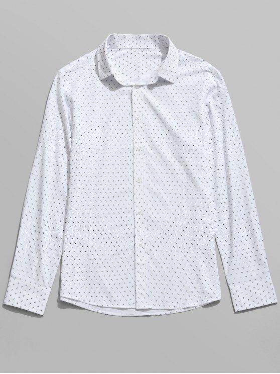 قميص بأكمام طويلة مزين بطبعة - أبيض L