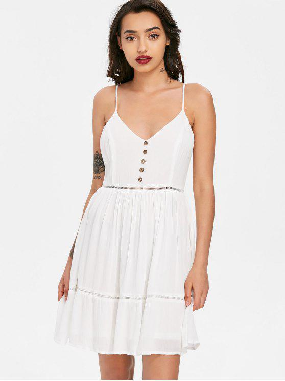 fashion Ladder Trim Smock Slip Dress - WHITE L