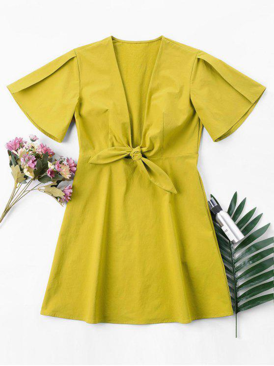 outfit Front knot Mini Dress - HARVEST YELLOW S