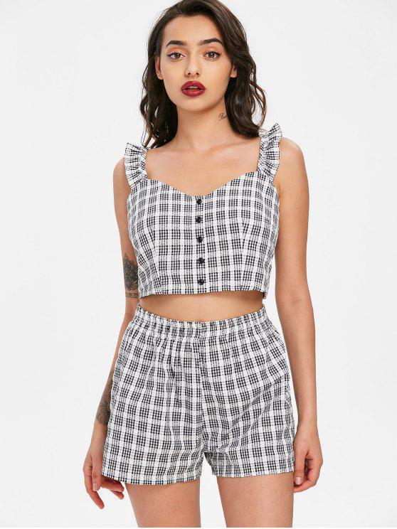 fancy Plaid Sleeveless Top and Shorts Set - BLACK M