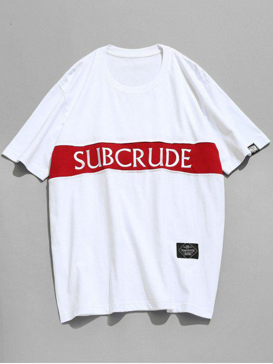 affordable Short Sleeve Embroidered Tee - WHITE XL