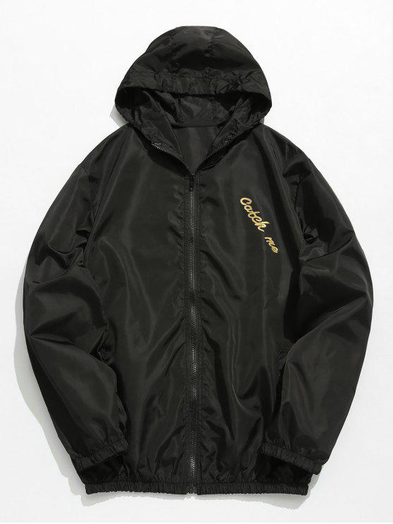 online Hooded Print Zip Windbreaker Jacket - BLACK S
