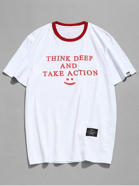 T-shirt Lettre Imprimé à Bordure Contrastante - Blanc M