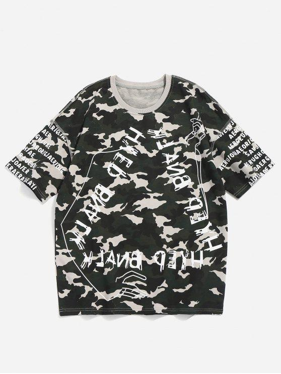 women's Camo Letter Print Tee - CAMOUFLAGE GREEN XL