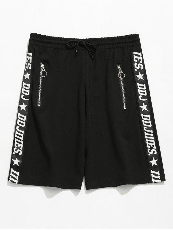Buchstabe Druck Reißverschluss Ösen Shorts - Schwarz M