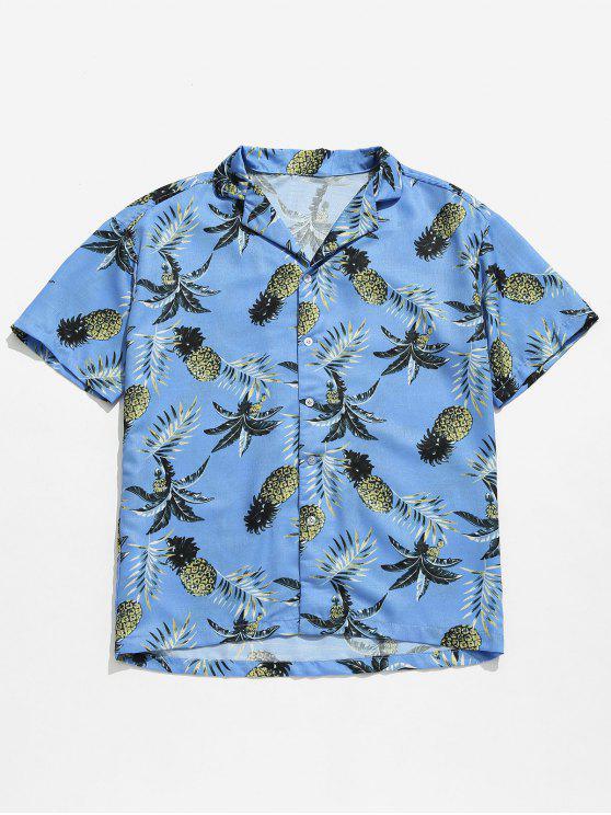 هاواي الأناناس طباعة قميص الشاطئ - ازرق فاتح XL