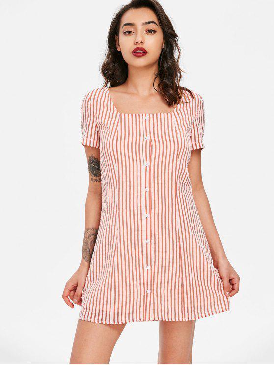فستان مخطط برقبة مربعة - كستنائي أحمر M