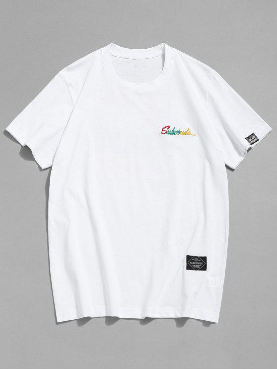 Bestickter Muster T-Shirt - Weiß 2XL