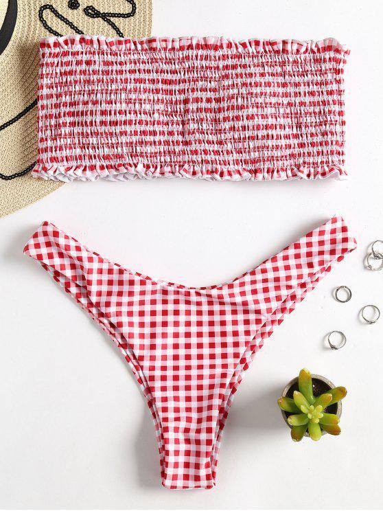 latest Plaid Smocked Bandeau Bikini - RED S